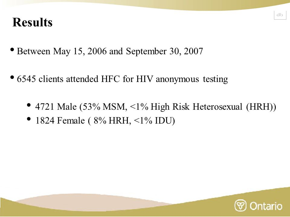 17 Results Between May 15, 2006 and September 30, 2007 6545 clients attended HFC for HIV anonymous testing 4721 Male (53% MSM, <1% High Risk Heterosex