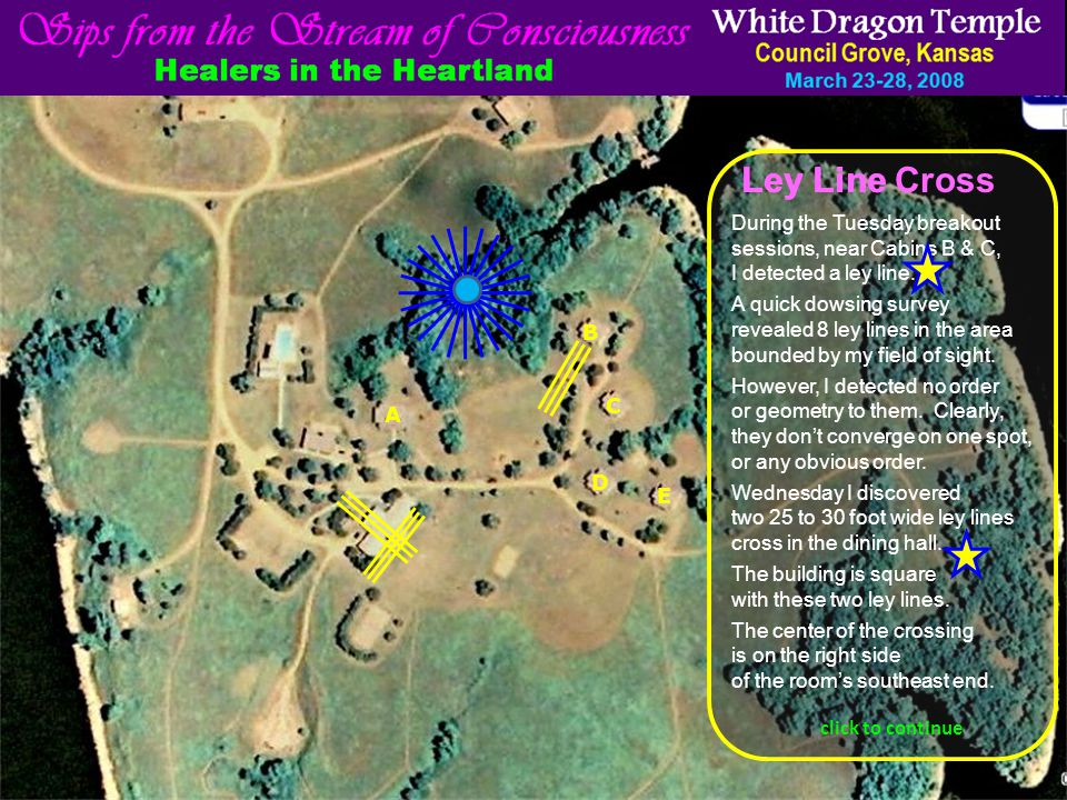 click to continue A B C D E During the Tuesday breakout sessions, near Cabins B & C, I detected a ley line.