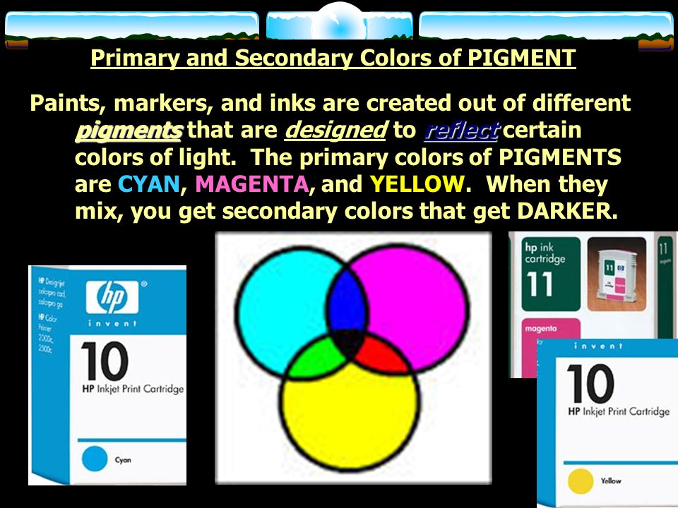 Primary and Secondary Colors of PIGMENT pigmentsreflect Paints, markers, and inks are created out of different pigments that are designed to reflect certain colors of light.