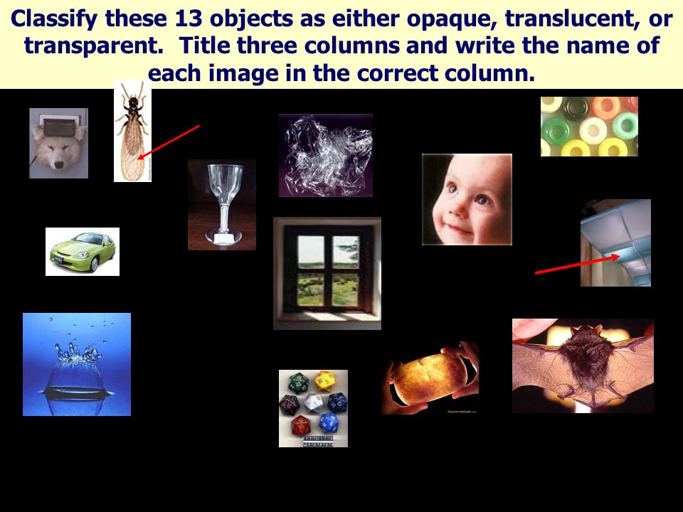 Classify these 13 objects as either opaque, translucent, or transparent.