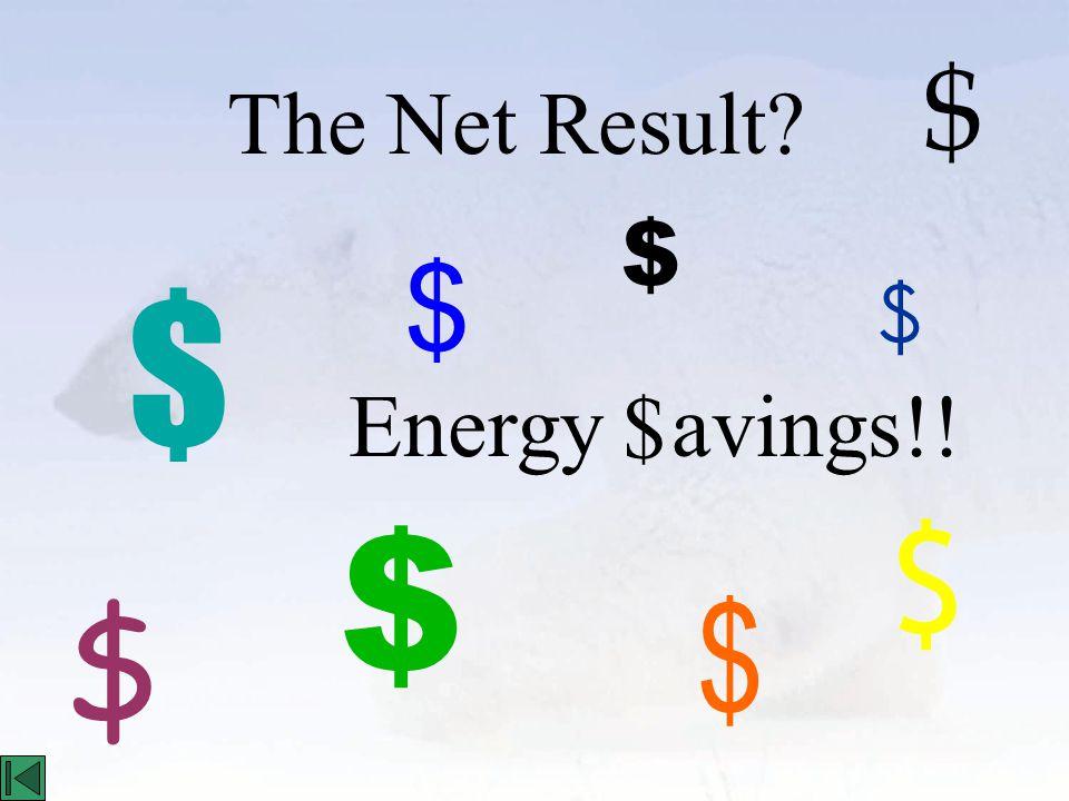 Energy avings!! The Net Result? $ $ $ $ $ $ $ $ $ $