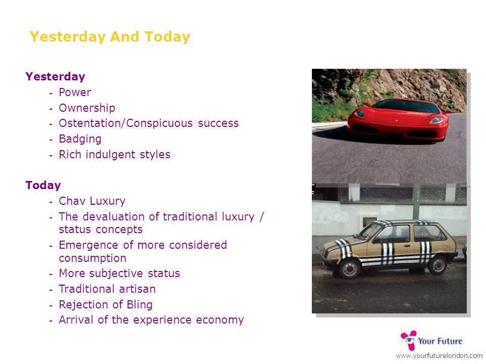 www.yourfuturelondon.com Yesterday And Today Yesterday  Power  Ownership  Ostentation/Conspicuous success  Badging  Rich indulgent styles Today 