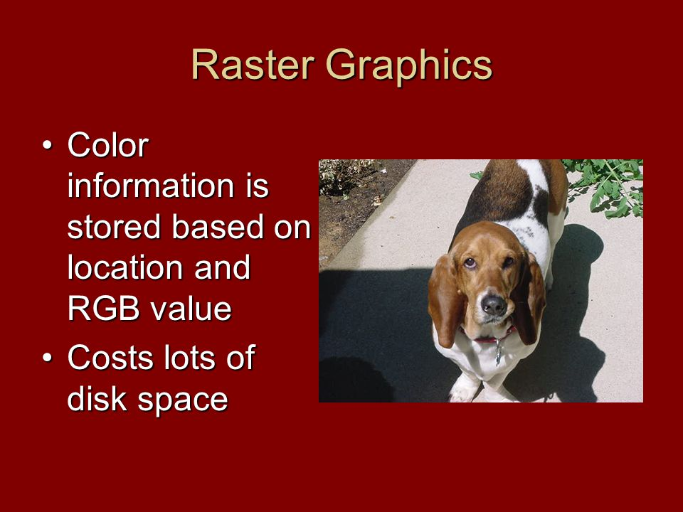 Raster Graphics Color information is stored based on location and RGB valueColor information is stored based on location and RGB value Costs lots of disk spaceCosts lots of disk space