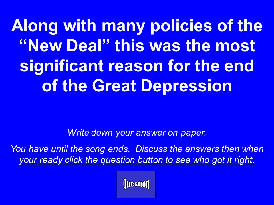 Your subject will be: The Great Depression ***You have 20 seconds (or click the mouse to begin) to decide how much to risk on final Jeopardy. You must