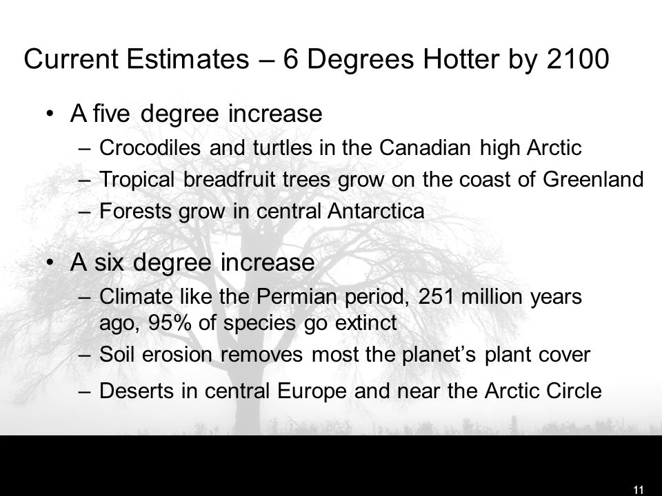 Free Template from www.brainybetty.com11 Current Estimates – 6 Degrees Hotter by 2100 A six degree increase –Climate like the Permian period, 251 million years ago, 95% of species go extinct –Soil erosion removes most the planet's plant cover –Deserts in central Europe and near the Arctic Circle A five degree increase –Crocodiles and turtles in the Canadian high Arctic –Tropical breadfruit trees grow on the coast of Greenland –Forests grow in central Antarctica