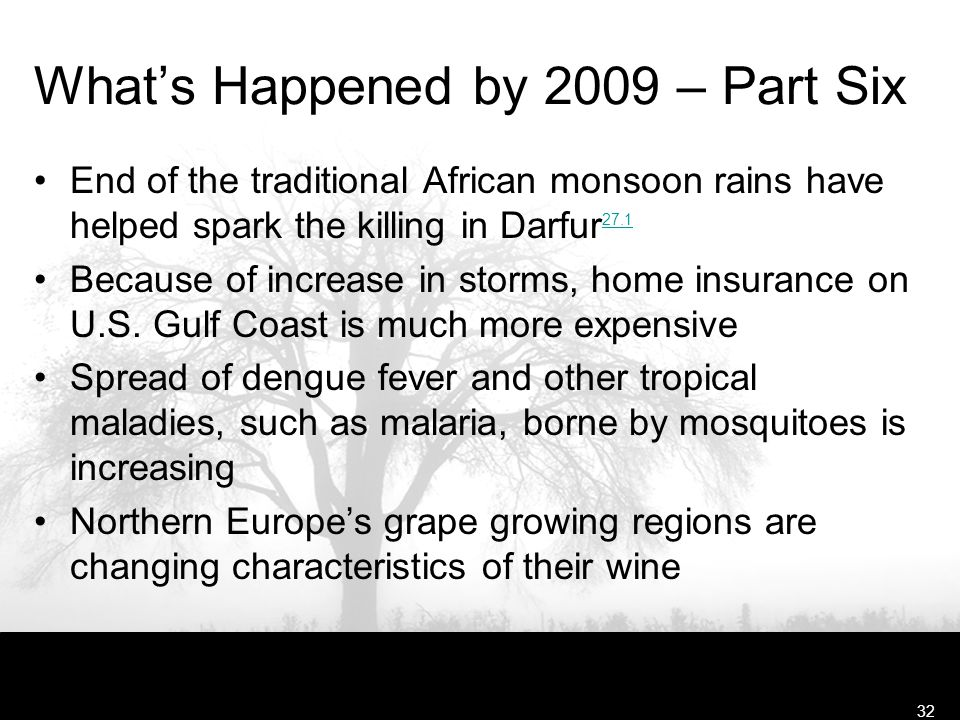 Free Template from www.brainybetty.com32 What's Happened by 2009 – Part Six End of the traditional African monsoon rains have helped spark the killing in Darfur 27.1 27.1 Because of increase in storms, home insurance on U.S.