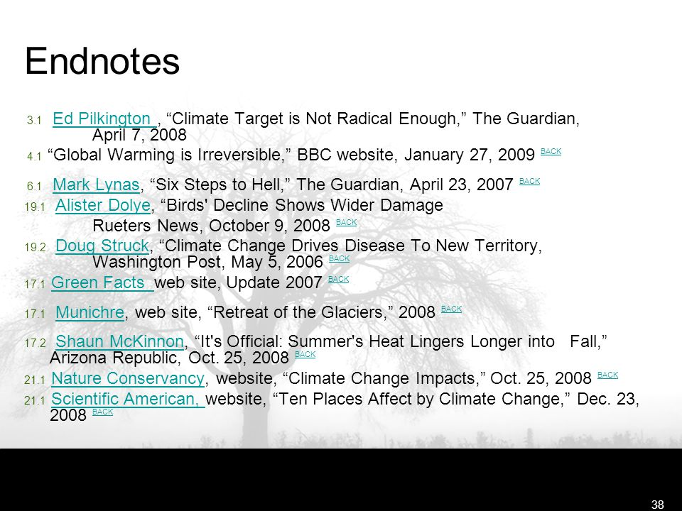 "Free Template from www.brainybetty.com38 Endnotes 3.1 Ed Pilkington, ""Climate Target is Not Radical Enough,"" The Guardian, April 7, 2008Ed Pilkington"