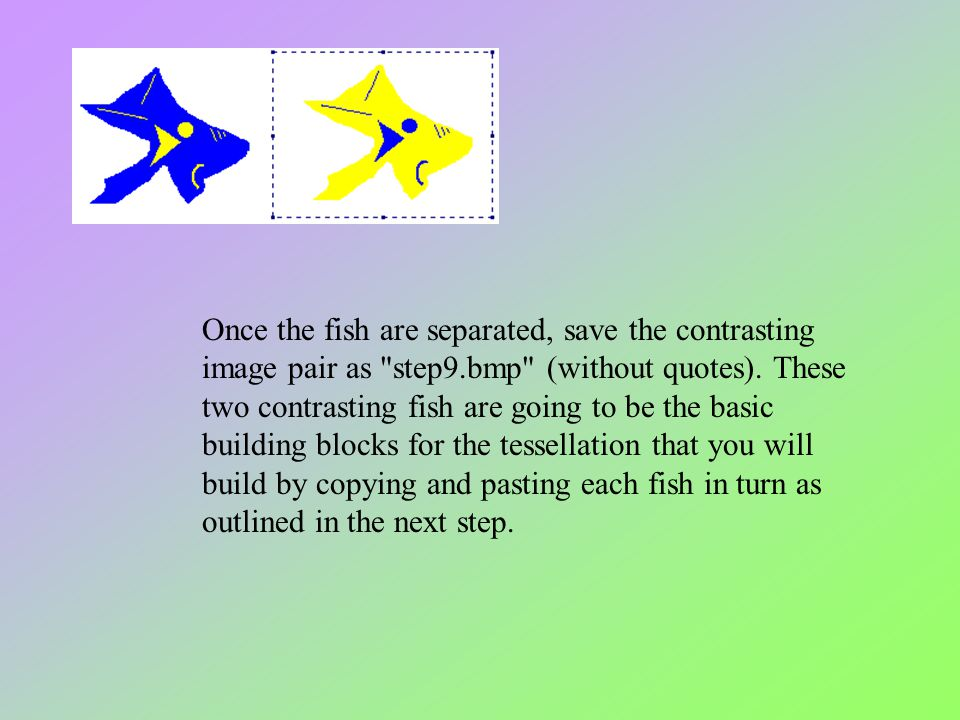 Once the fish are separated, save the contrasting image pair as