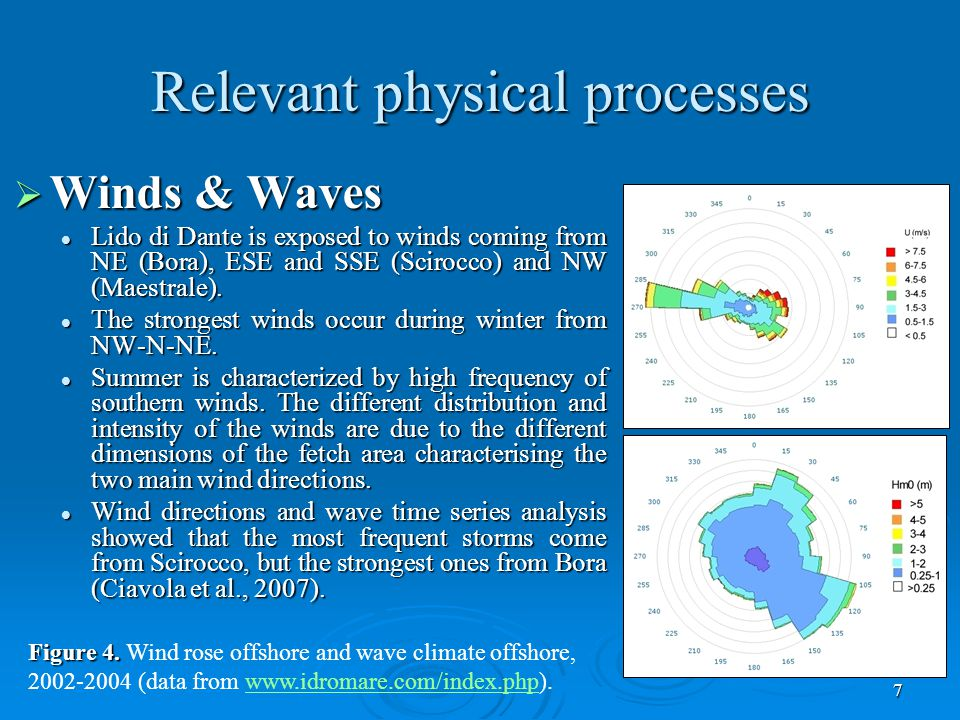 7 Relevant physical processes  Winds & Waves Lido di Dante is exposed to winds coming from NE (Bora), ESE and SSE (Scirocco) and NW (Maestrale).