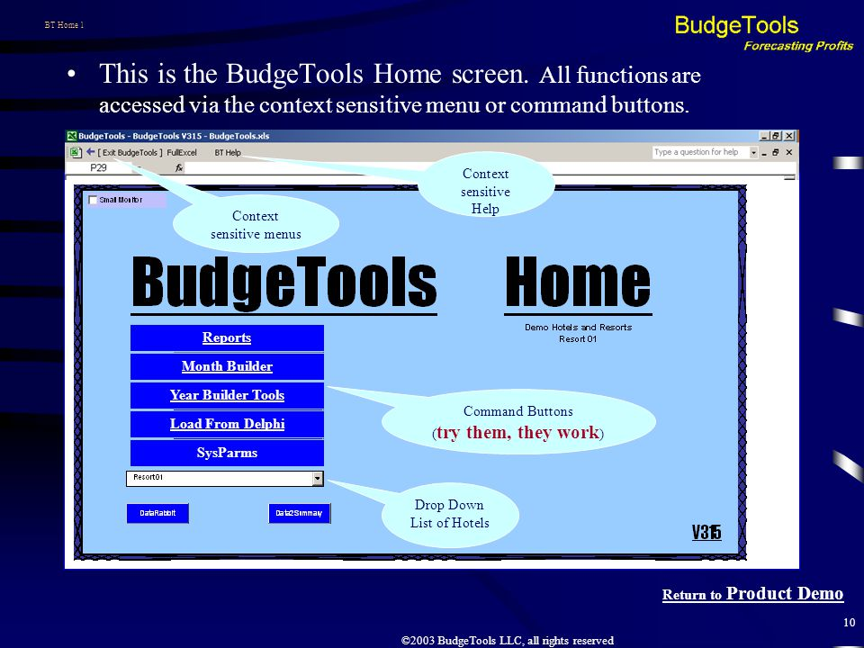 ©2003 BudgeTools LLC, all rights reserved 10 BT Home 1 This is the BudgeTools Home screen.
