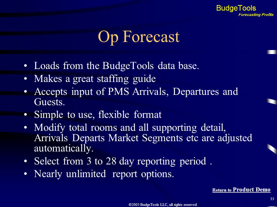 ©2003 BudgeTools LLC, all rights reserved 33 Op Forecast Loads from the BudgeTools data base.