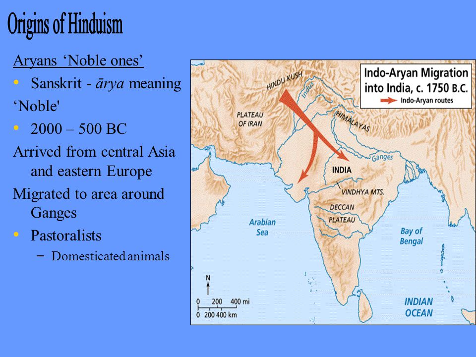 Aryans 'Noble ones' Sanskrit - ārya meaning 'Noble 2000 – 500 BC Arrived from central Asia and eastern Europe Migrated to area around Ganges Pastoralists – – Domesticated animals