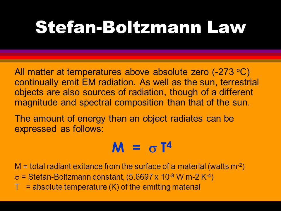 Stefan-Boltzmann Law All matter at temperatures above absolute zero (-273 o C) continually emit EM radiation. As well as the sun, terrestrial objects