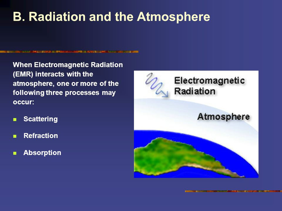 B. Radiation and the Atmosphere When Electromagnetic Radiation (EMR) interacts with the atmosphere, one or more of the following three processes may o