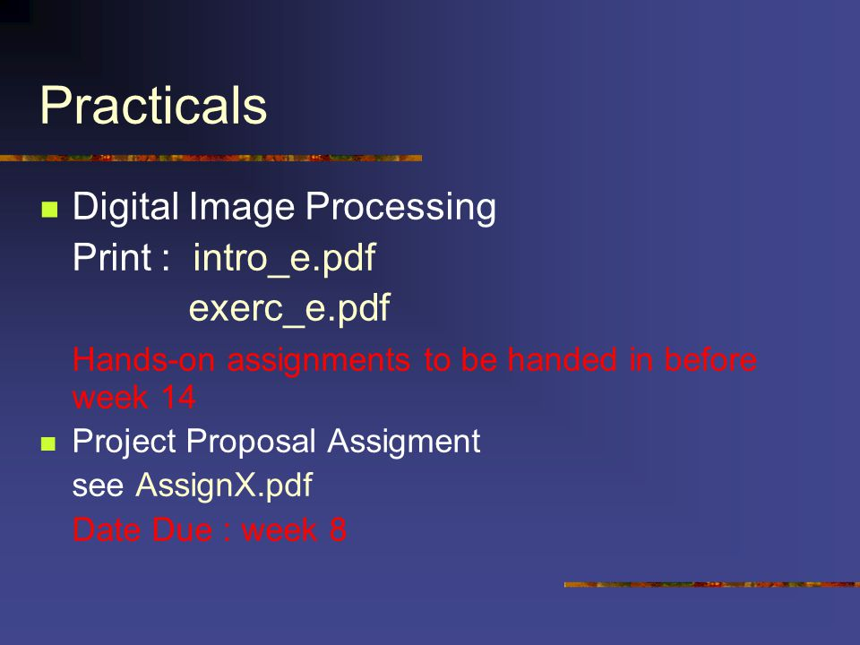 Practicals Digital Image Processing Print : intro_e.pdf exerc_e.pdf Hands-on assignments to be handed in before week 14 Project Proposal Assigment see