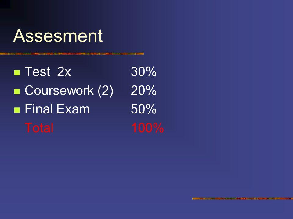 Assesment Test 2x30% Coursework (2)20% Final Exam50% Total100%