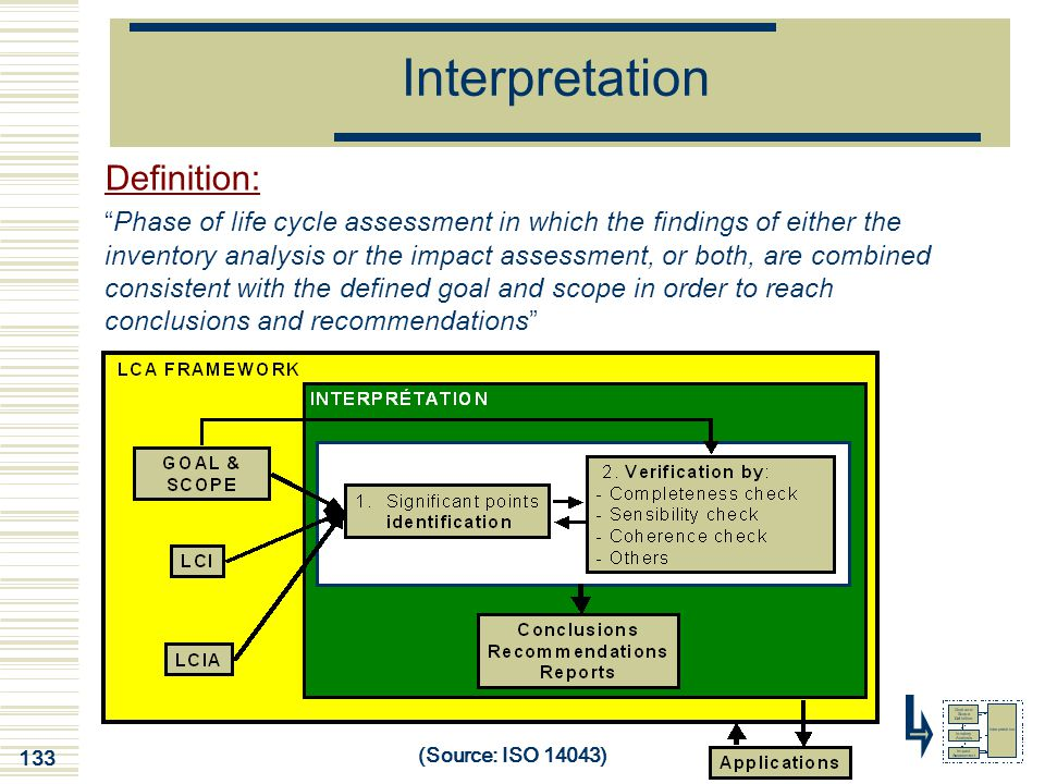 "133 Interpretation Definition: ""Phase of life cycle assessment in which the findings of either the inventory analysis or the impact assessment, or bot"