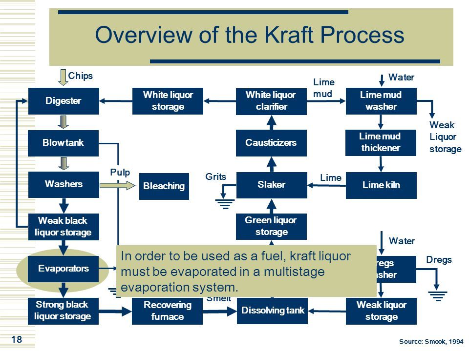 18 Overview of the Kraft Process Digester Chips Blow tank Washers Weak black liquor storage Evaporators Strong black liquor storage White liquor clari