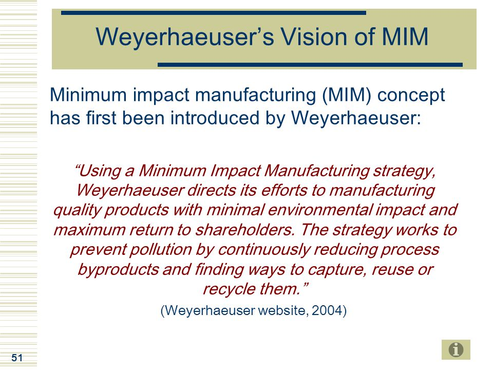 "51 Weyerhaeuser's Vision of MIM Minimum impact manufacturing (MIM) concept has first been introduced by Weyerhaeuser: ""Using a Minimum Impact Manufact"