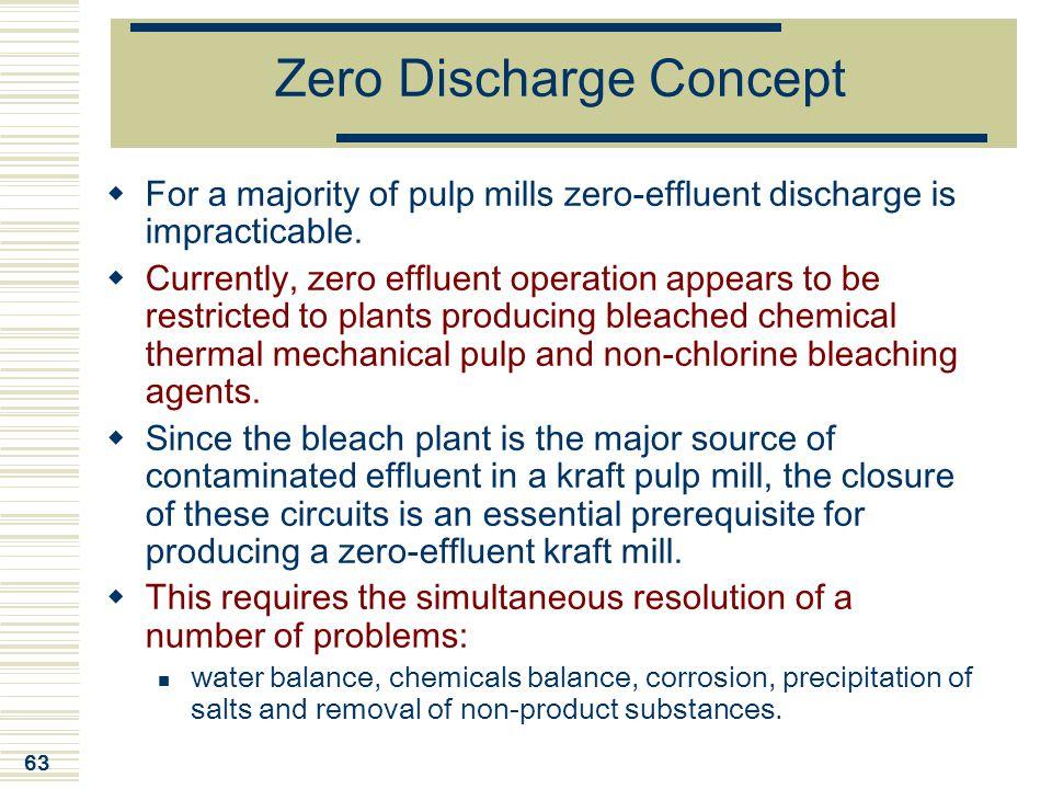 63 Zero Discharge Concept  For a majority of pulp mills zero-effluent discharge is impracticable.