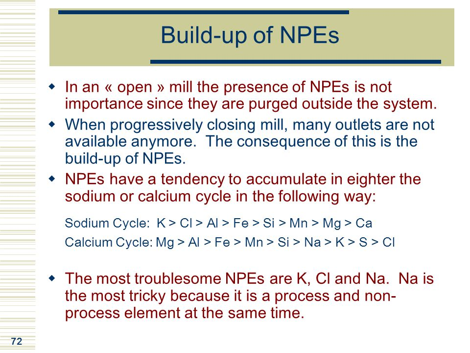 72 Build-up of NPEs  In an « open » mill the presence of NPEs is not importance since they are purged outside the system.  When progressively closin