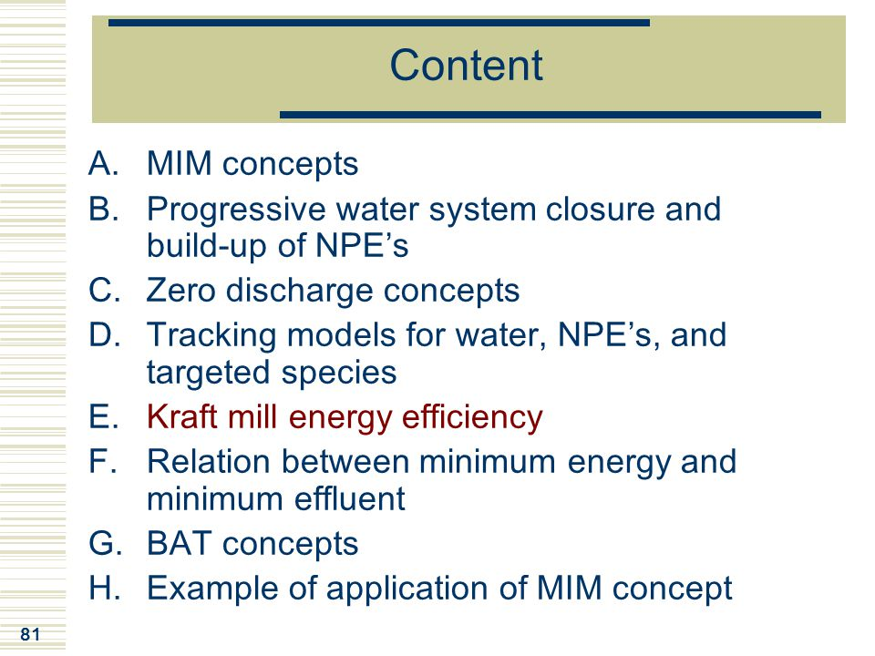 81 Content A.MIM concepts B.Progressive water system closure and build-up of NPE's C.Zero discharge concepts D.Tracking models for water, NPE's, and t