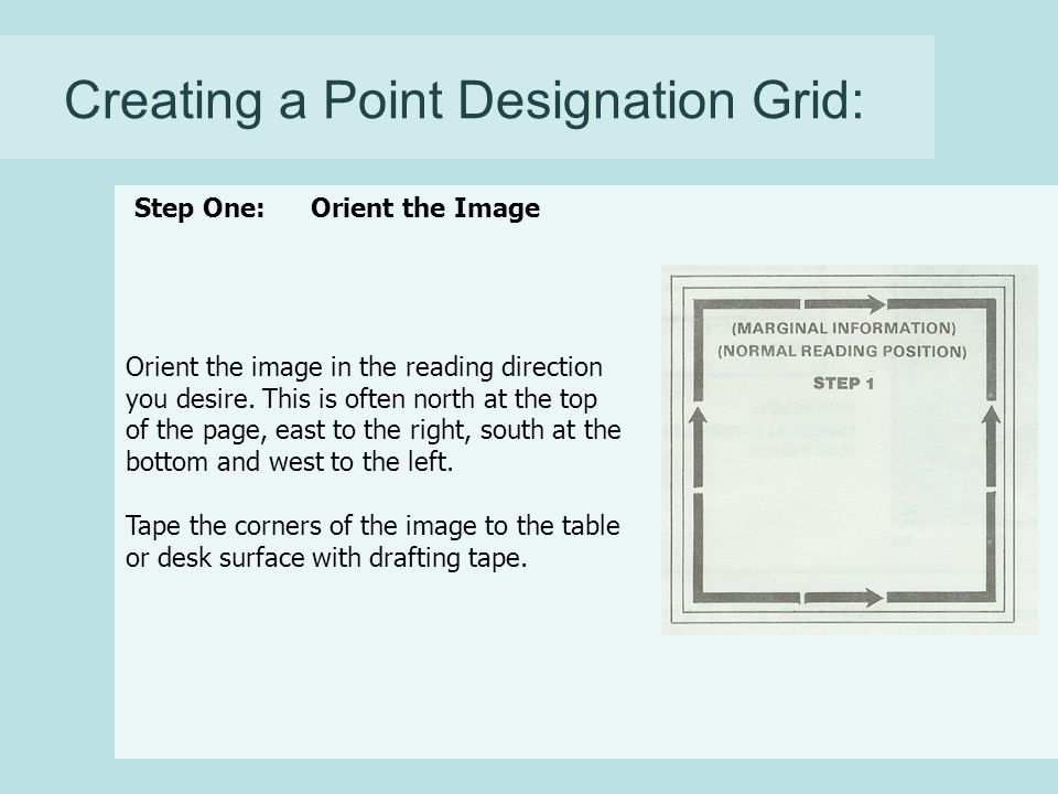 Creating a Point Designation Grid: Orient the image in the reading direction you desire.