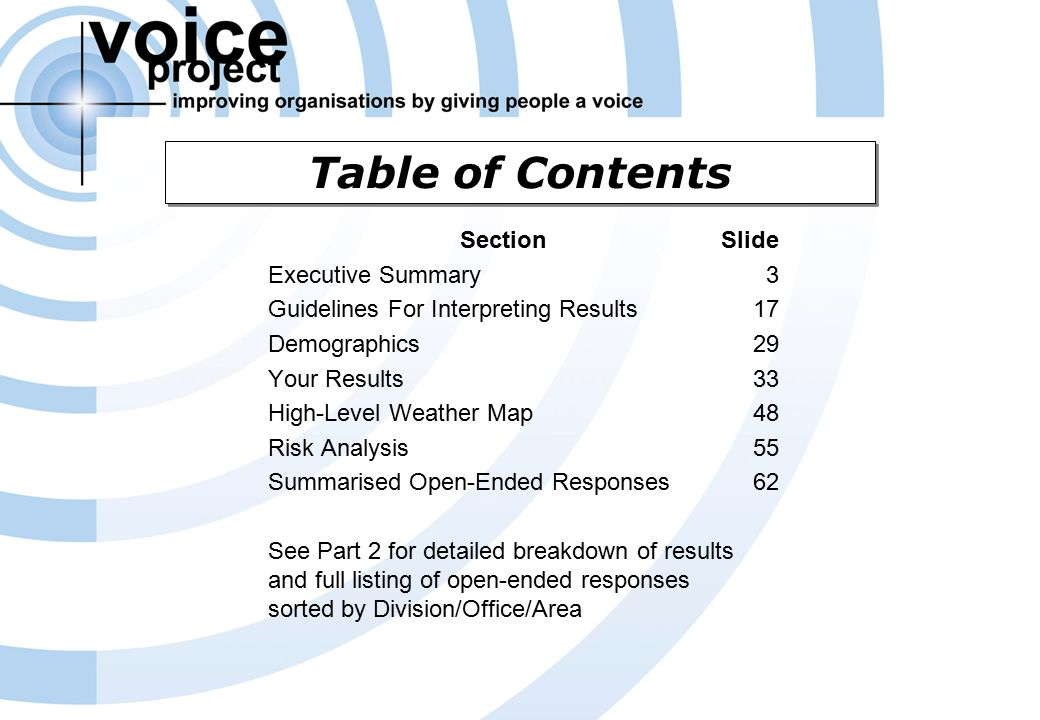 Voice Project Survey Report (c) Voice Project Pty Ltd & Access Macquarie Ltd – Overview Of Results Page 2 Table of Contents Section Executive Summary Guidelines For Interpreting Results Demographics Your Results High-Level Weather Map Risk Analysis Summarised Open-Ended Responses See Part 2 for detailed breakdown of results and full listing of open-ended responses sorted by Division/Office/Area Slide 3 17 29 33 48 55 62
