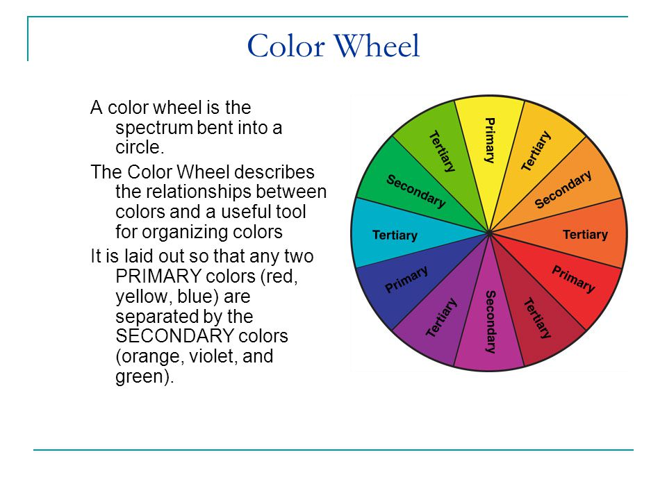Color Wheel A color wheel is the spectrum bent into a circle.