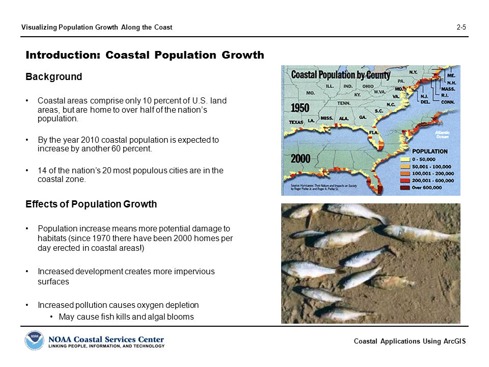 Coastal Applications Using ArcGIS Visualizing Population Growth Along the Coast2-5 Introduction: Coastal Population Growth Background Coastal areas comprise only 10 percent of U.S.