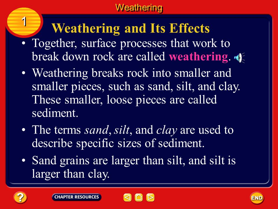 Together, surface processes that work to break down rock are called weathering.
