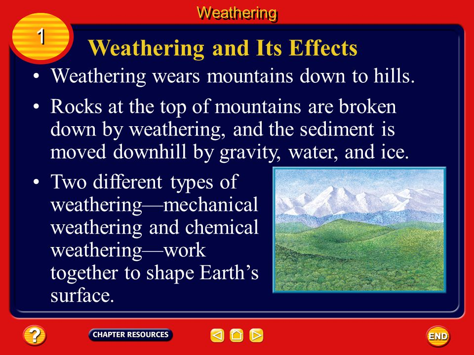 Weathering wears mountains down to hills.