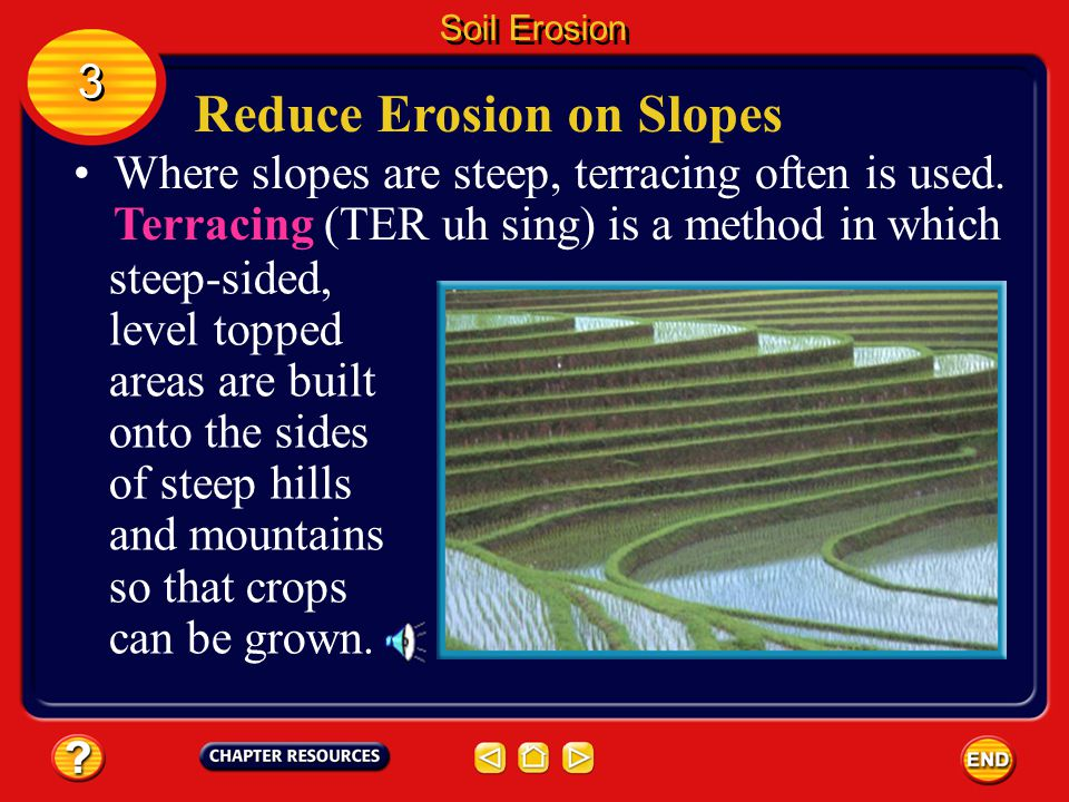 On gentle slopes, planting along the natural contours of the land, called contour farming, reduces soil erosion. 3 3 Soil Erosion Reduce Erosion on Sl