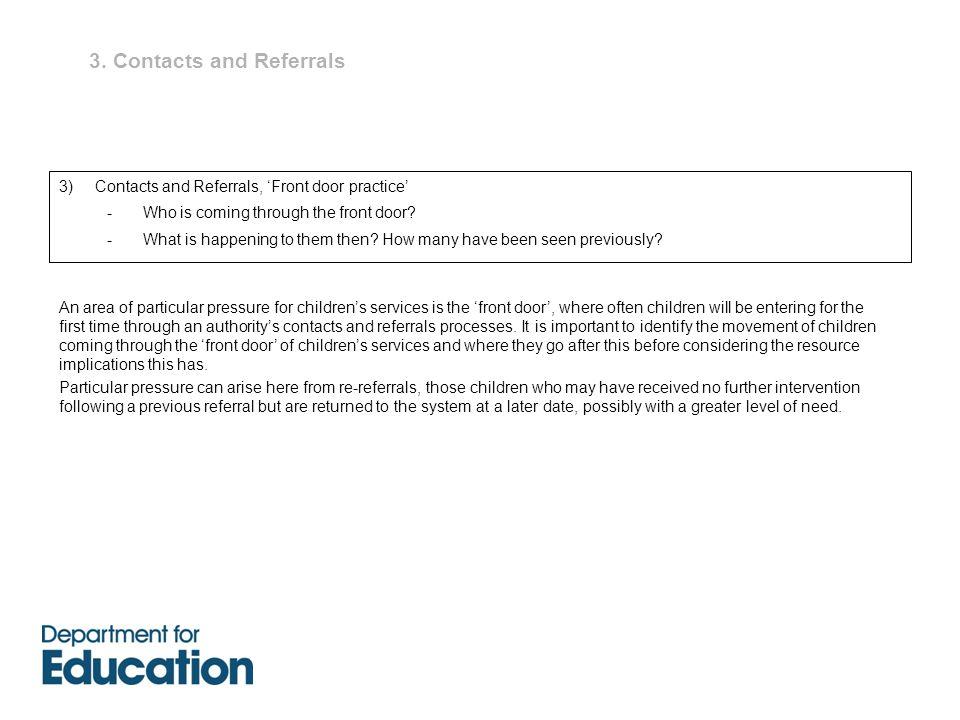 3. Contacts and Referrals 3) Contacts and Referrals, 'Front door practice' -Who is coming through the front door? -What is happening to them then? How
