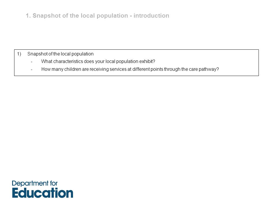 1. Snapshot of the local population - introduction 1)Snapshot of the local population -What characteristics does your local population exhibit? -How m