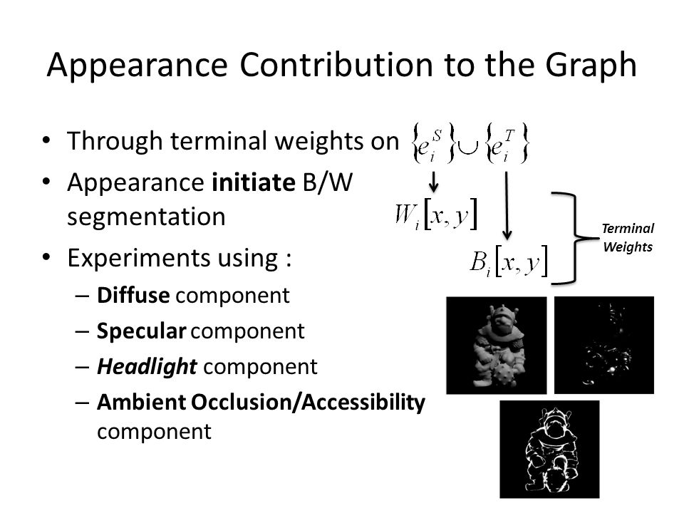 Appearance Contribution to the Graph Through terminal weights on Appearance initiate B/W segmentation Experiments using : – Diffuse component – Specular component – Headlight component – Ambient Occlusion/Accessibility component Terminal Weights