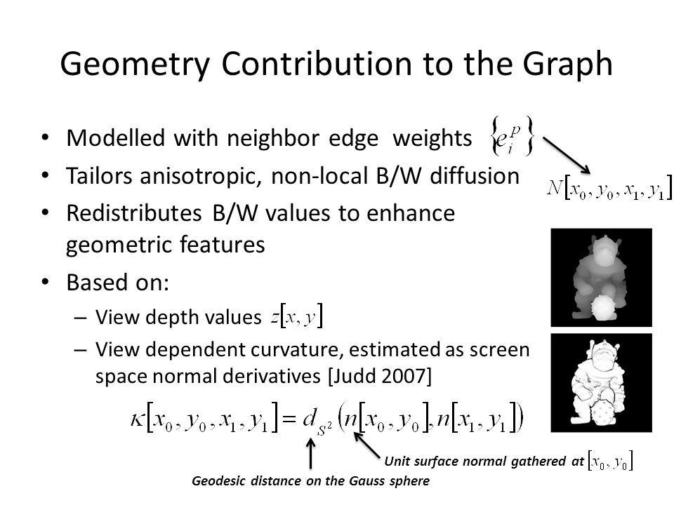 Geometry Contribution to the Graph Modelled with neighbor edge weights Tailors anisotropic, non-local B/W diffusion Redistributes B/W values to enhance geometric features Based on: – View depth values – View dependent curvature, estimated as screen space normal derivatives [Judd 2007] Geodesic distance on the Gauss sphere Unit surface normal gathered at