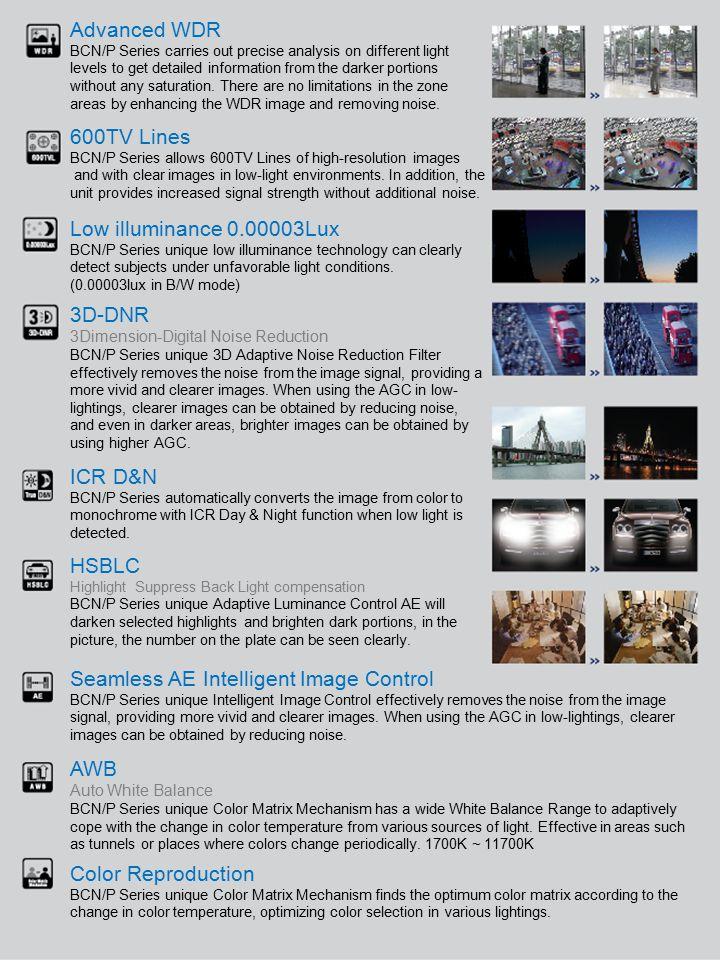 600TV Line Box Camera Series 600TV Line Vandal & Plastic Dome Camera Series Seamless AE Intelligent Control Solution.
