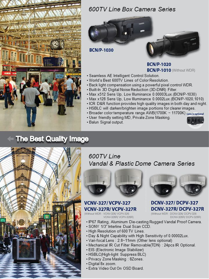 600TV Line Box Camera Series 600TV Line Vandal & Plastic Dome Camera Series Seamless AE Intelligent Control Solution.