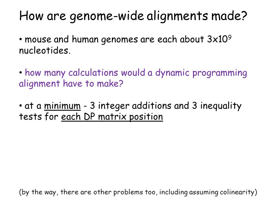 How are genome-wide alignments made. mouse and human genomes are each about 3x10 9 nucleotides.