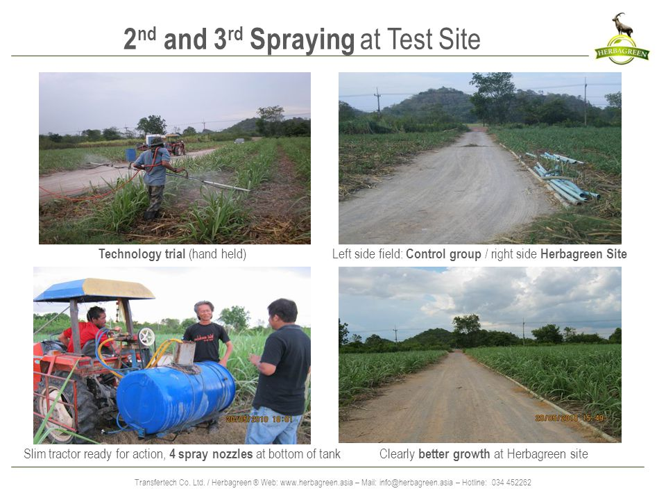 Transfertech Co. Ltd. / Herbagreen ® Web: www.herbagreen.asia – Mail: info@herbagreen.asia – Hotline: 034 452262 2 nd and 3 rd Spraying at Test Site C