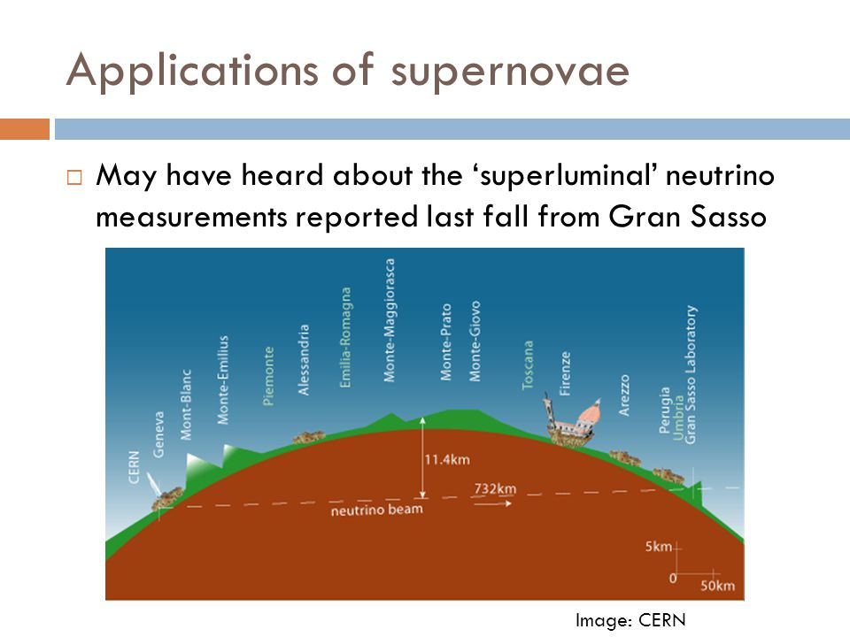 Applications of supernovae  May have heard about the 'superluminal' neutrino measurements reported last fall from Gran Sasso Image: CERN