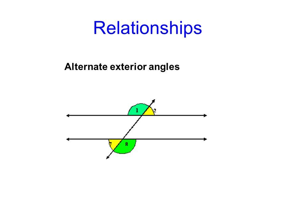 Relationships Alternate exterior angles