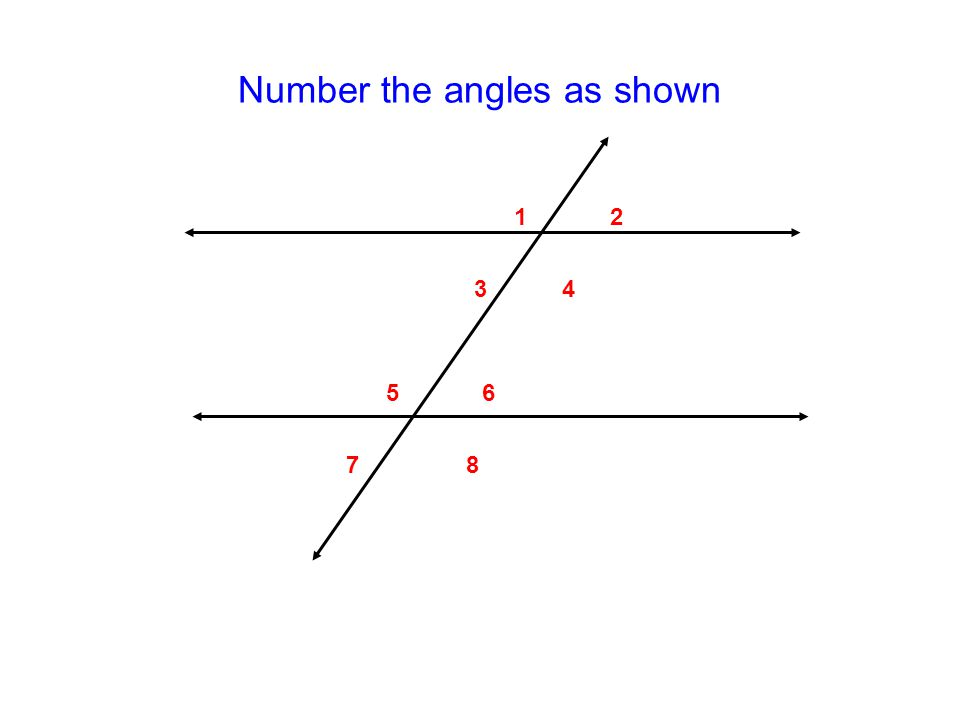 Number the angles as shown 12 34 56 78