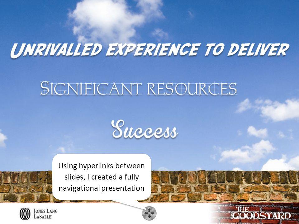 Using hyperlinks between slides, I created a fully navigational presentation