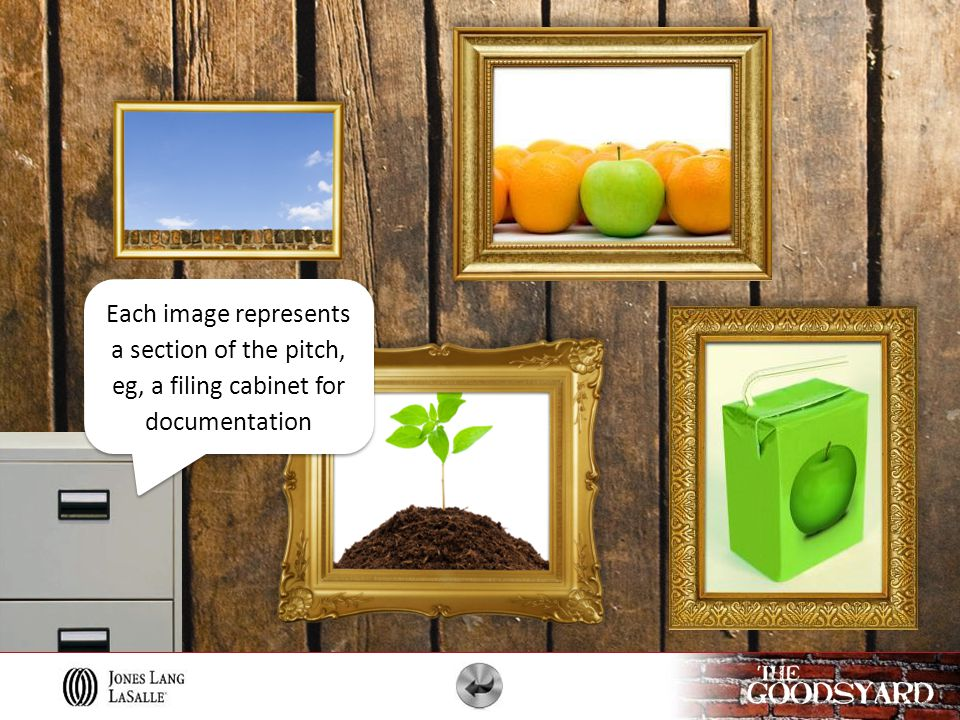 Each image represents a section of the pitch, eg, a filing cabinet for documentation