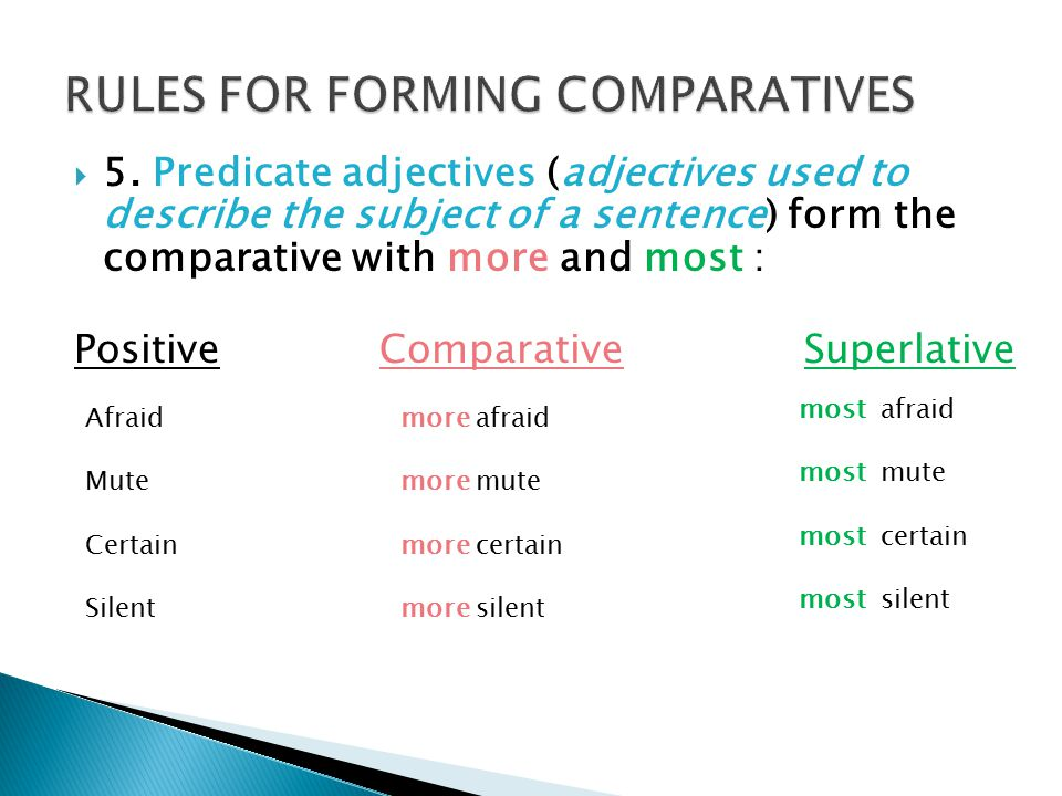  5. Predicate adjectives (adjectives used to describe the subject of a sentence) form the comparative with more and most : PositiveComparativeSuperla