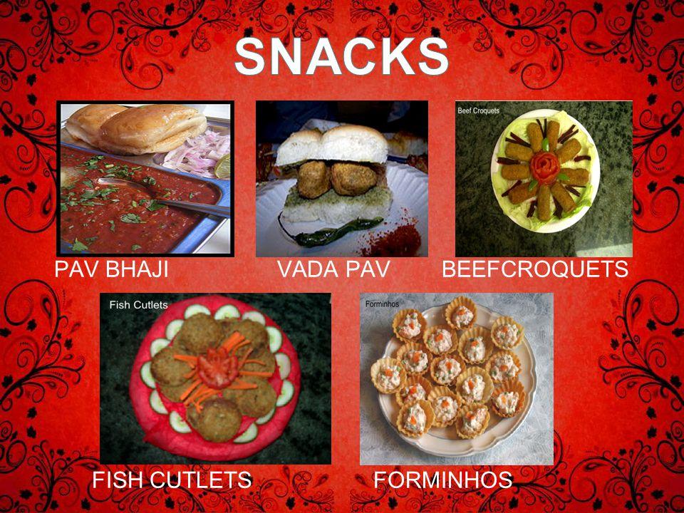 PAV BHAJI VADA PAV BEEFCROQUETS FISH CUTLETS FORMINHOS