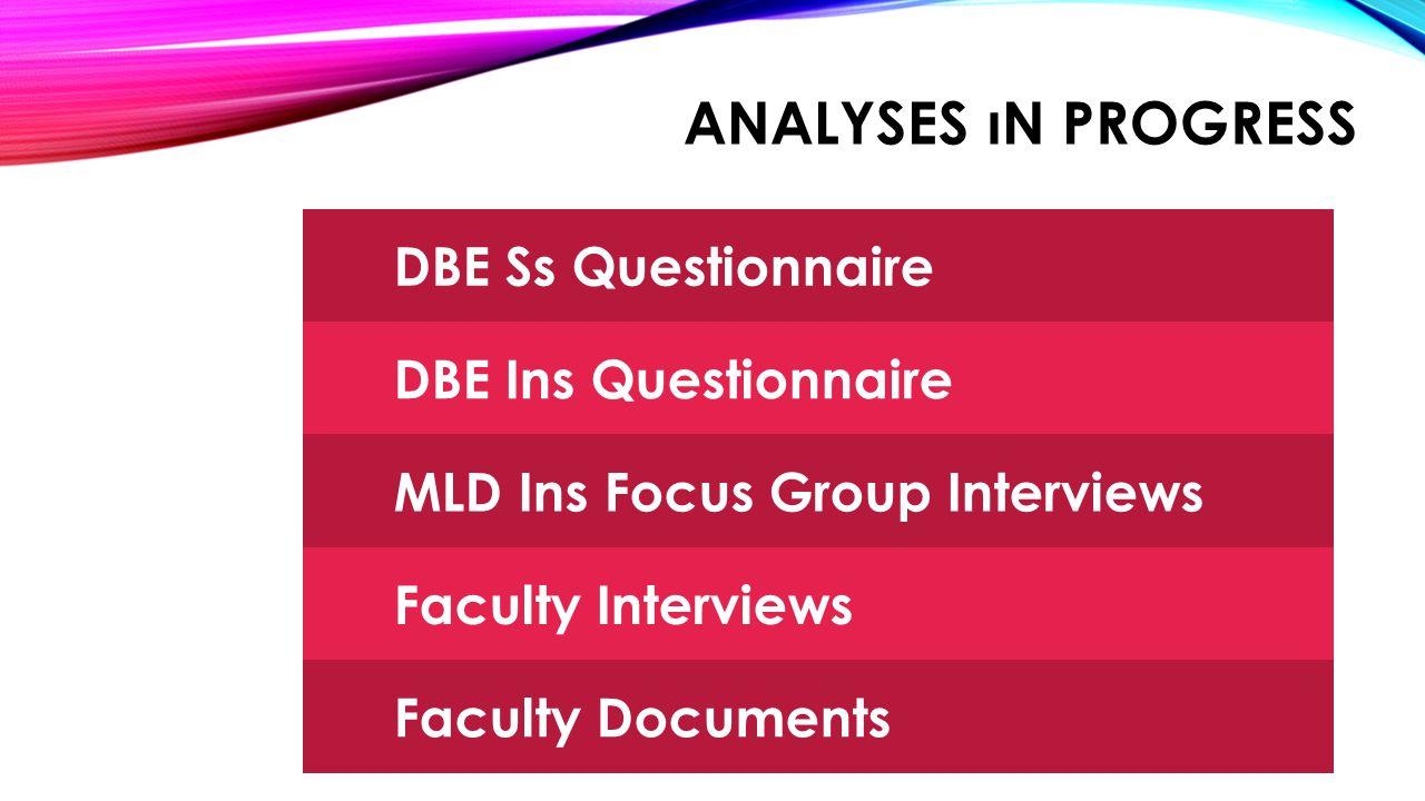 PENDING JOBS Qualitative Data Analysis Freshman student samples MLD Student samples DBE Student samples Interviews Observations
