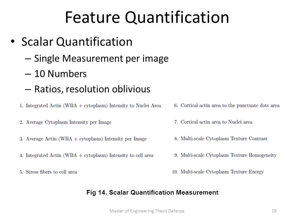 Feature Quantification Scalar Quantification – Single Measurement per image – 10 Numbers – Ratios, resolution oblivious Master of Engineering Thesis Defense19 Fig 14.
